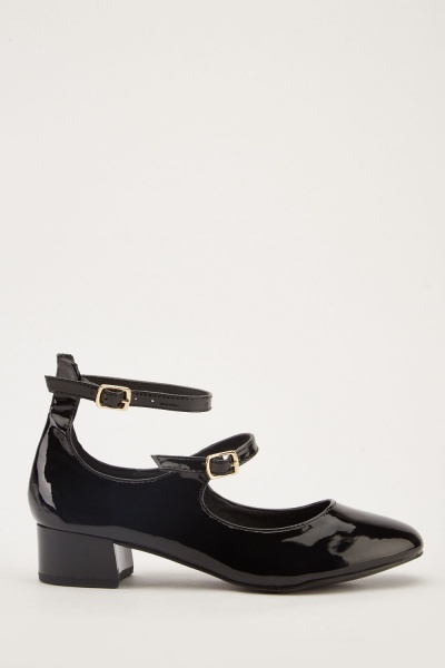 PVC Buckled Mary-Jane Heels