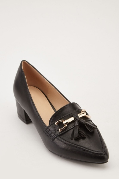 Tassel Trim Low Heel Loafers