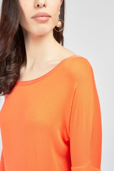 Contrasted Hem Long Sleeve Top