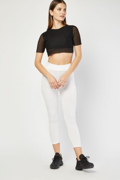 Crop Length Plain Jersey Leggings