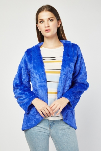 Lapel Front Faux Fur Jacket