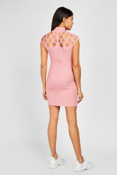 Laser Cut Panel Bodycon Dress