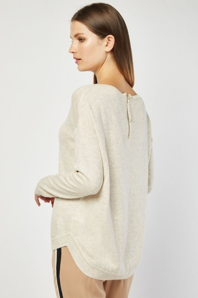 Long Sleeve Beige Knit Jumper