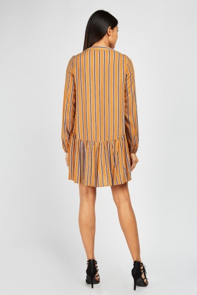 Long Sleeve Striped Smock Dress