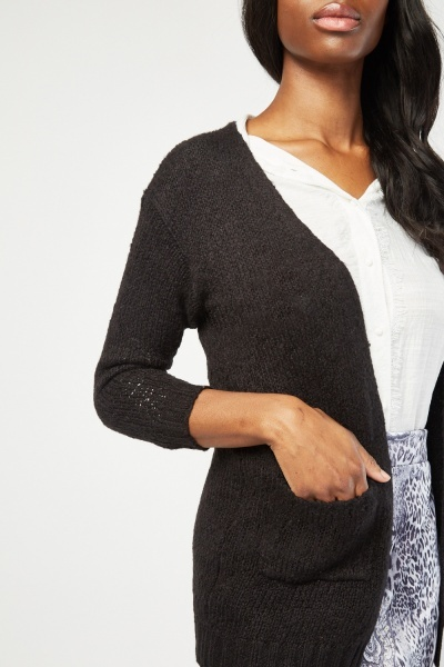 Open Front Bobble Textured Cardigan