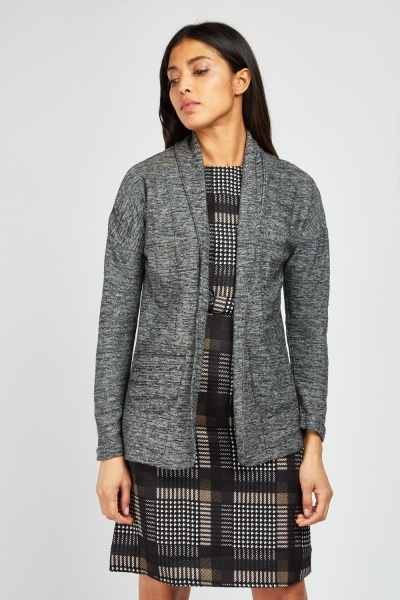 Open Pocket Front Speckled Cardigan