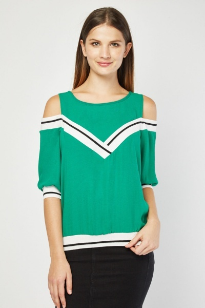 Rib Trim Cold Shoulder Top