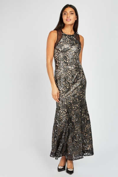 Sequin Metallic Thread Overlay Maxi Dress