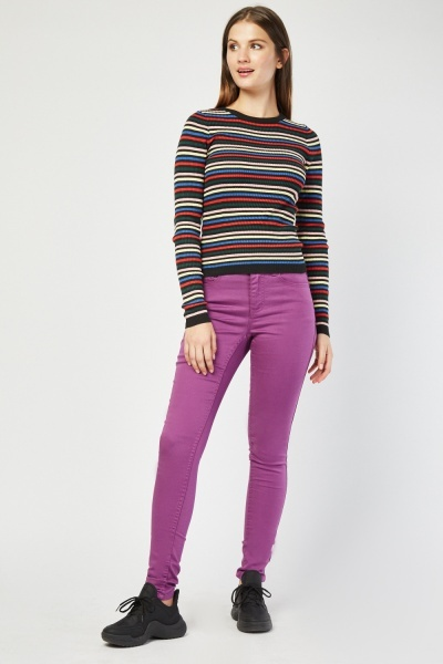Skinny Fit Purple Chino Trousers