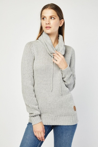 Slouchy Hooded Style Knit Jumper