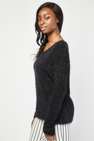 V-Neck Eyelash Knitted Jumper