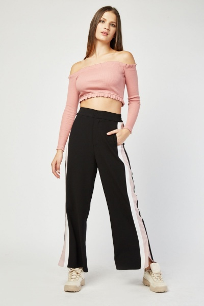 Wide Leg Trousers With Stripe Side