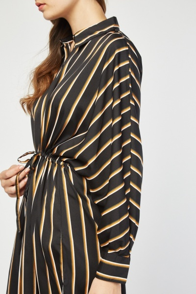 Batwing Sleeve Stripe Shirt Dress