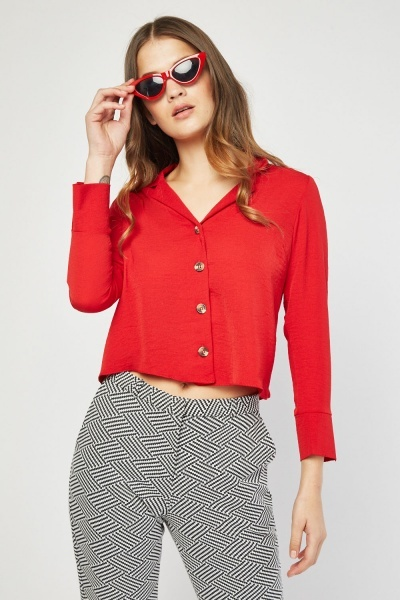 Button Front Dark Red Blouse