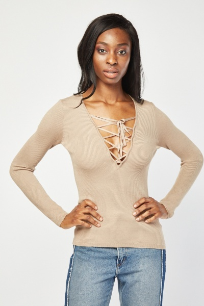 Criss Cross Front Knit Sweater