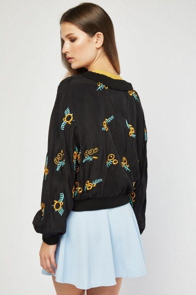 Embroidered Light Bomber Jacket