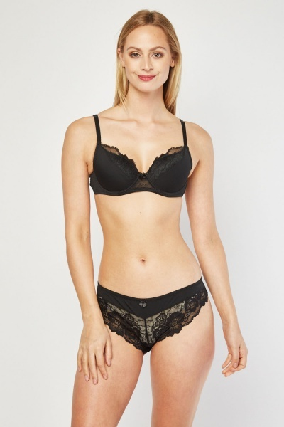 Lace Insert Full Cup Bra And Brief Set