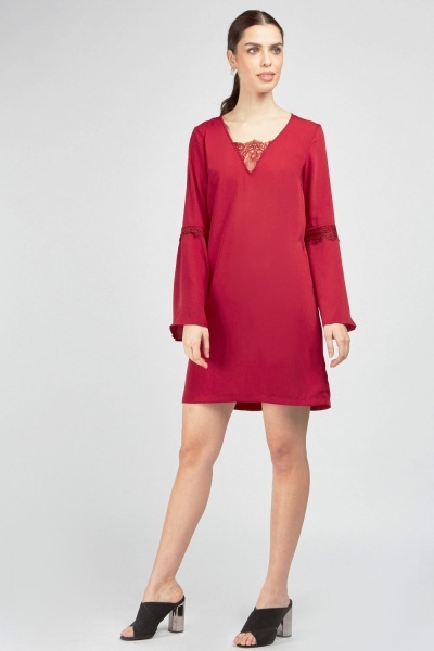 Lace Trim Shift Dress