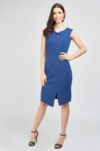 Lace Up Front Midi Dress