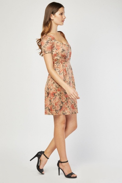 Open Neck Vintage Printed Dress
