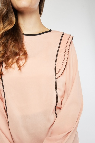 Pleated Trim Front Blouse