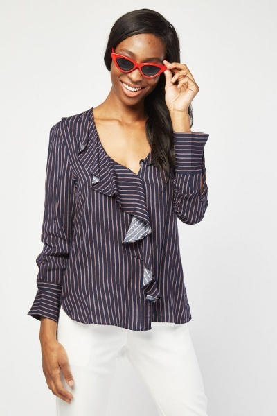 Ruffle Front Striped Shirt