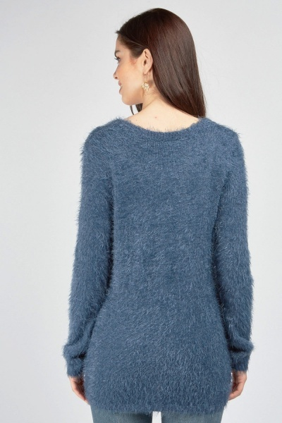 V-Neck Knitted Eyelash Jumper
