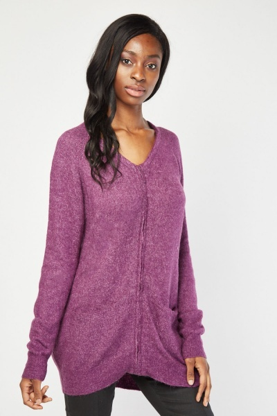 Zipper Front Knitted Cardigan