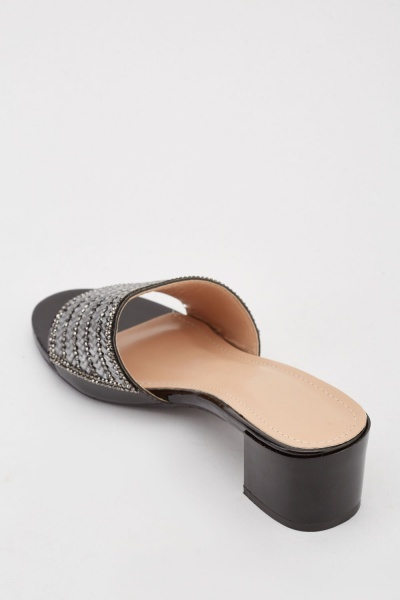 Encrusted Block Heeled Shoes