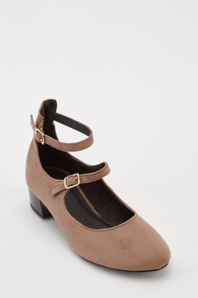 Faux Suede Twin Buckle Pumps