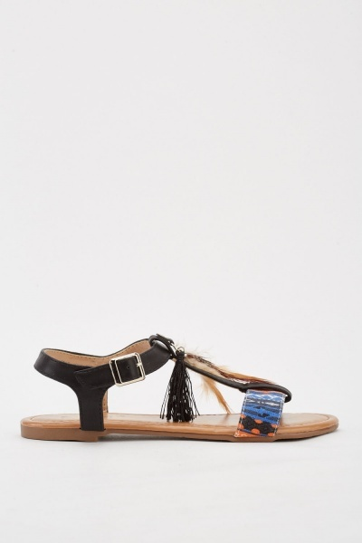 Jacquard Pattern Feather Trim Sandals