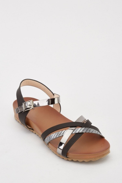 Metallic Contrast Flat Sandals