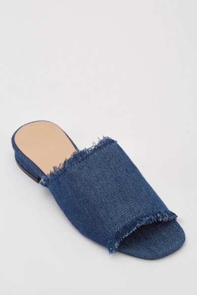 Open Toe Denim Mule Shoes