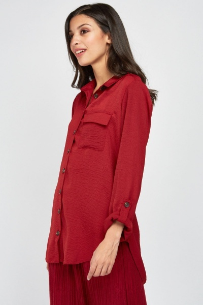 Button Front Brick Shirt