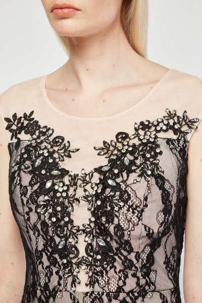 Embellished Lace Overlay Maxi Illusion Dress