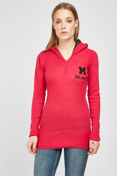 Embroidered Applique Front Hooded Top