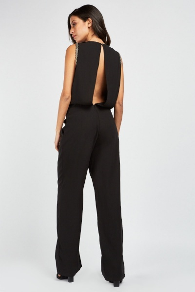 Encrusted Sleeve Straight Leg Jumpsuit