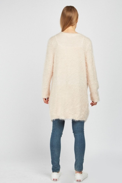 Long-Line Eyelash Knit Cardigan
