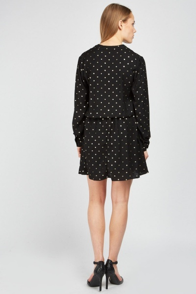 Metallic Polka Dot Swing Dress