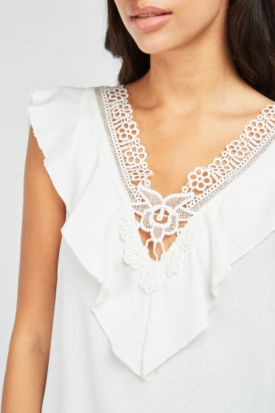 Ruffle Crochet Trim Blouse