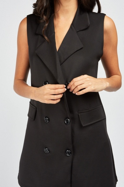Sleeveless Double Breasted Jacket