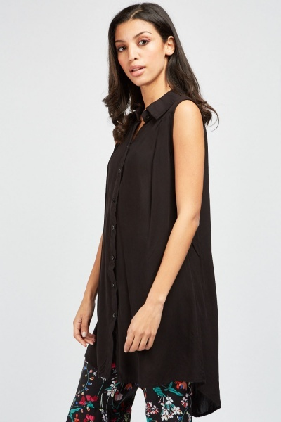 Sleeveless Sheer Long Line Shirt