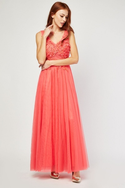 3D Flower Trim Net Overlay Dress