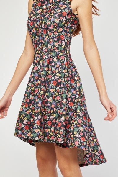 Calico Printed Dip Hem Dress