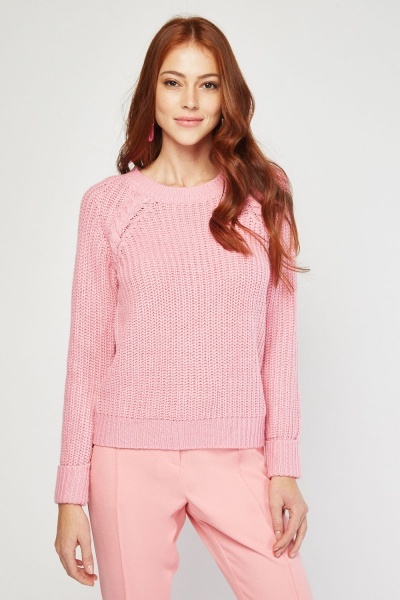 Chunky Knit Pink Jumper