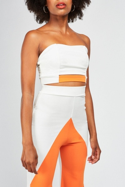 Colour Block Crop Top And Trouser Set