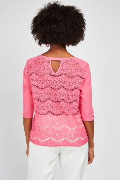 Crochet Patterned Back Blouse