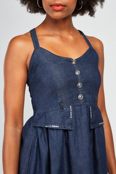 Encrusted Flap Front Denim Style Dress