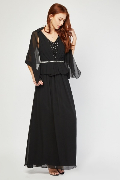 Encrusted Peplum Maxi Dress