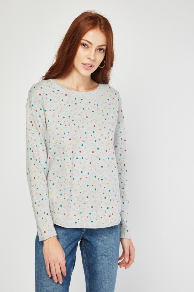 Fine Knit Polka Dot Sweater